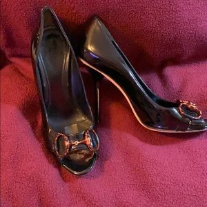 Gucci Peep Toe Patent Leather Heels